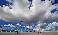 Nov. 15, 2008; Homestead, FL, USA; NASCAR Sprint Cup Series driver Carl Edwards (99) leads teammate Jamie McMurray (26) during practice for the Ford 400 at Homestead Miami Speedway. Mandatory Credit: Mark J. Rebilas-