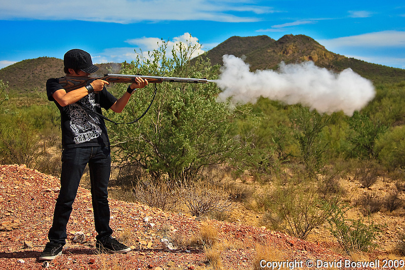 My son Ethan, shooting his muzzleloader in the Silverbell Mountains near Tucson, Arizona.