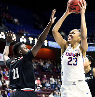 UNCASVILLE, CONNECTICUT -MAR 05: , UCONN ladies defeated Cincinnati in the semis of the AAC tournament 75-21 as Azura Stevens scores two of her game high 21 points on March 5, 2018 in Uncasville, Connecticut. ( Photo by D. Heary/Eclipse Sportswire/Getty Images)