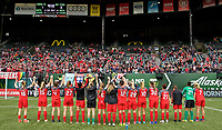 Portland, OR - Saturday April 29, 2017: Portland Thorns FC  Team salutes supporters after a regular season National Women's Soccer League (NWSL) match between the Portland Thorns FC and the Chicago Red Stars at Providence Park.