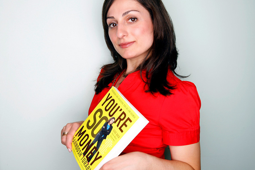 "Farnoosh Torabi in her upper west side apartment in Manhattan, NY on Tuesday, April 8, 2008.  Torabi's first published book, ""You're So Money, Live Rich Even When You're Not,"" is due out next week"