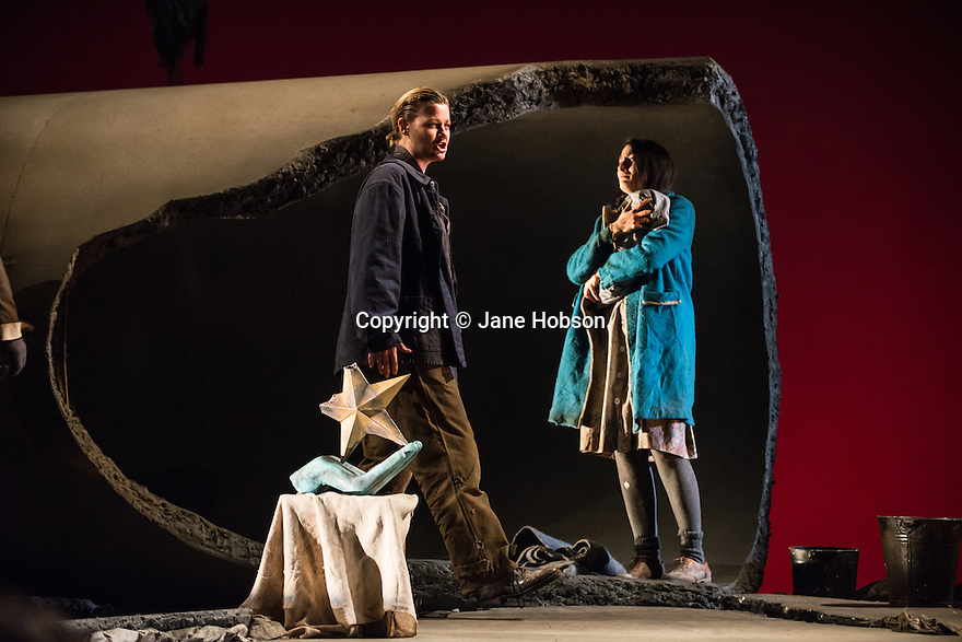 London, UK. 05.03.2013. English Touring Theatre's production of THE SIEGE OF CALAIS by Donizetti, opens at Hackney Empire, prior to touring. Picture shows: Helen Sherman (Aurelio) and Paula Sides (Eleonora). Photo credit: Jane Hobson.