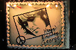 "GEORGE HARRISON BIRTHDAY CAKE. George Harrison's Birthday was celebrated by the Alliance for Survival, hosted by Jerry Rubin and ""Breakfast with the Beatles"" radio host Chris Carter at George Harrison's star on the Walk of Fame. Hollywood, CA, USA. February 25, 2010."