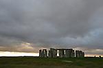 Stonehenge, Salisbury, England on a December evening.