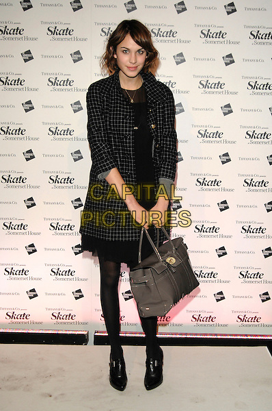 ALEXA CHUNG.Somerset House Ice Skating Rink VIP Launch - Arrivals..London, England, 20th November 2007..full length black and white checked coat dress tights ankle shoe boots grey patent Mulberry bag.CAP/PL.©Phil Loftus/Capital Pictures