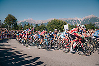 up the big climb they go...<br /> <br /> MEN ELITE ROAD RACE<br /> Kufstein to Innsbruck: 258.5 km<br /> <br /> UCI 2018 Road World Championships<br /> Innsbruck - Tirol / Austria