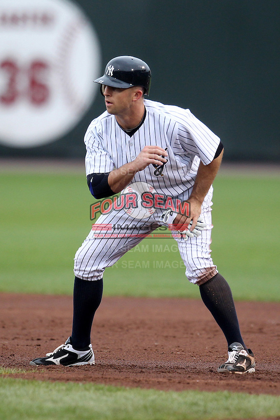 Empire State Yankees outfielder Brett Gardner #5, on rehab assignment, during the first game of a double header against the Columbus Clippers at Frontier Field on May 8, 2012 in Rochester, New York.  Columbus defeated Empire State 1-0.  (Mike Janes/Four Seam Images)