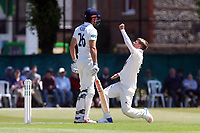 Sam Curran of Surrey celebrates taking the wicket of Alastair Cook during Surrey CCC vs Essex CCC, Specsavers County Championship Division 1 Cricket at Guildford CC, The Sports Ground on 10th June 2017