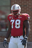 "17 September 2005:  Maryland's 6'9"" 330 lb. freshman tackle Jared Gaither (78).  West Virginia defeated Maryland 31-19 at Byrd Stadium in College Park, MD."