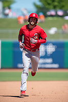 Springfield Cardinals outfielder Dylan Carlson (8) rounds second after hitting a home run on May 19, 2019, at Arvest Ballpark in Springdale, Arkansas. (Jason Ivester/Four Seam Images)