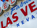 Close up of the Las Vegas welcome sign at the beginning of the strip.