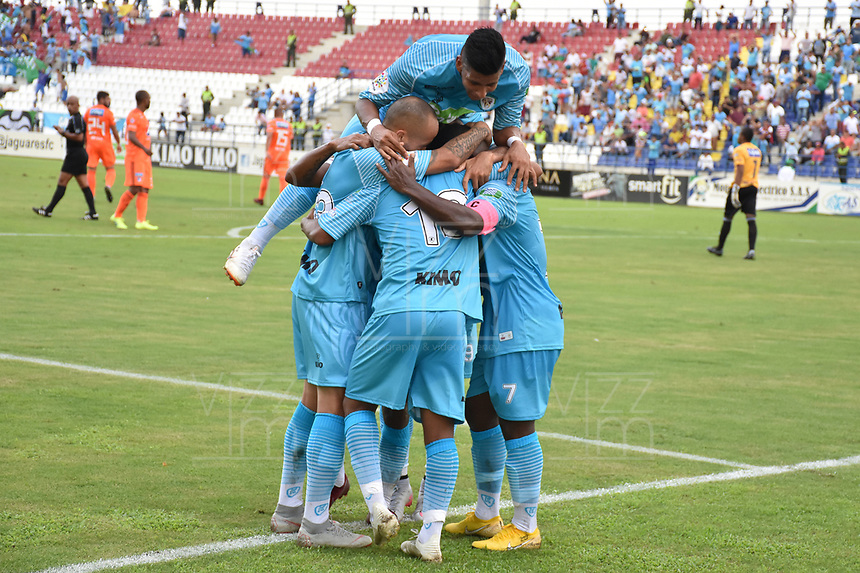 MONTERIA - COLOMBIA, 09-02-2019: Jugadores del Jaguares celebran después de anotar el primer gol de su equipo durante el partido por la fecha 4 de la Liga Águila I 2019 entre Jaguares de Córdoba y Millonarios jugado en el estadio Jaraguay de la ciudad de Montería. / Players of Jaguares celebrate after scoring the first goal of their team during match for the date 4 as part Aguila League I 2019 between Jaguares de Cordoba and Millonarios played at Jaraguay stadium in Monteria city. Photo: VizzorImage / Andres Rios / Cont