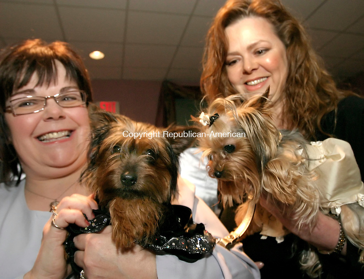 WOLCOTT, CT--28 APRIL 2007--042807JS04-Jackie Kasabucki of Wolcott, left with her Yorkie 'Mocha' and Jennifer Scheer of Southbury, right, with her Yorkie 'Fifi' during the VIPOOCH party Saturday at the Farmingbury Hills Country Club in Wolcott. The event was sponsored by Woodbury Pet Commons and proceeds from the event will go to Animals for Life and the American Bouvier Rescue League. <br /> Jim Shannon / Republican-American