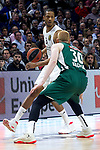 Real Madrid's Anthony Randolph and Zalgiris' Aaron White during Euroligue match between Real Madrid and Zalgiris Kaunas at Wizink Center in Madrid, Spain. April 4, 2019.  (ALTERPHOTOS/Alconada)