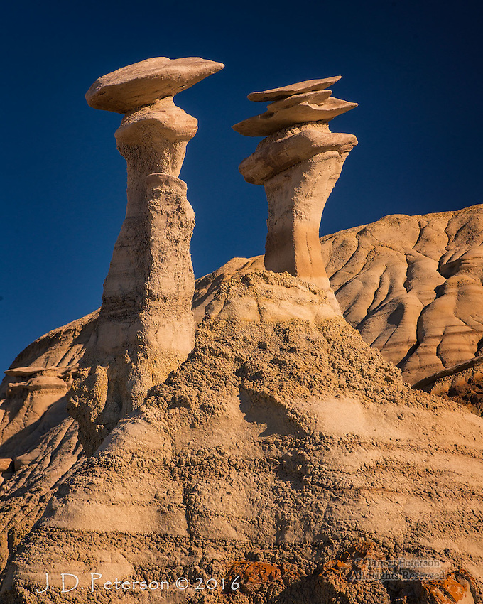 Twins, Bisti Badlands, New Mexico  ©2016 James D Peterson.  We found these extreme hoodoos in the late afternoon after a couple hours of bushwacking through the badlands of Northwestern New Mexico.