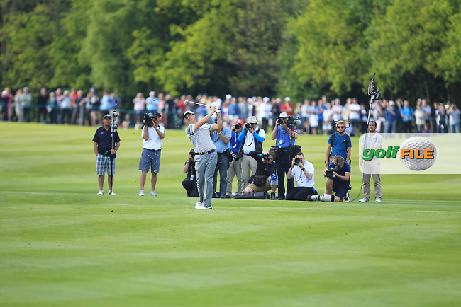 Simon Khan (ENG) on the 18th during round 4 at the BMW PGA Championship 2013, Wentworth Club, Virginia Water, Surrey, England. 26/5/13.Picture:  Fran Caffrey/www.golffile.ie
