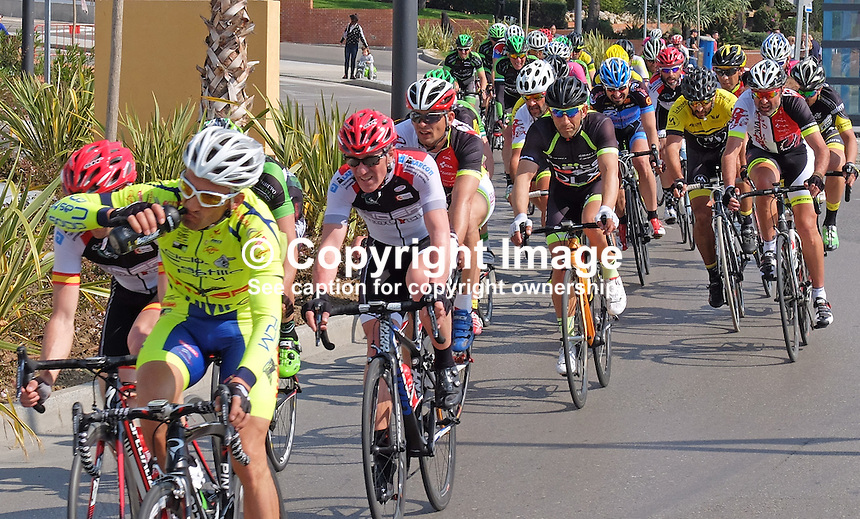 Semi-professional cycle racing, San Pedro de Alcantara, Marbella, Malaga, Province, Spain, March 2015. 201503140599<br />
