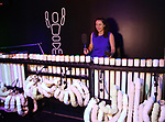 """Journalist Shoshana Medney performing on the pvc pipes during """"Blue Man Group: Ready...Go!"""" press preview exhibit at the Museum of the City of New York on July 16, 2019 in New York City."""