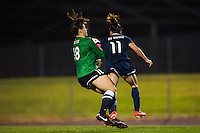 Seattle Reign FC goalkeeper Michelle Betos (18) and Sky Blue FC forward Lisa De Vanna (11) collide. Sky Blue FC defeated the Seattle Reign FC 2-0 during a National Women's Soccer League (NWSL) match at Yurcak Field in Piscataway, NJ, on May 11, 2013.