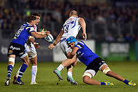 Zach Mercer of Bath Rugby tackles Matt Kvesic of Exeter Chiefs. Gallagher Premiership match, between Bath Rugby and Exeter Chiefs on October 5, 2018 at the Recreation Ground in Bath, England. Photo by: Patrick Khachfe / Onside Images