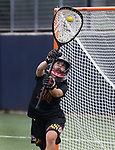 Maryland goalkeeper Megan Taylor (34) warms up before the game against Penn State on April 20, 2017. No. 1 Maryland defeated No. 5 Penn State 16-14.  Photo/Craig Houtz