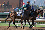 ARCADIA, CA  JUNE 23:#2 St. Joe Bay, ridden by Tyler Baze, in the post parade of the San Carlos Stakes on June 23, 2018, at Santa Anita Park in Arcadia, CA.  (Photo by Casey Phillips/Eclipse Sportswire/Getty Images)