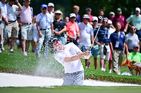 Keegan Bradley (USA) hits from the trap on 1 during Saturday's round 3 of the PGA Championship at the Quail Hollow Club in Charlotte, North Carolina. 8/12/2017.<br /> Picture: Golffile | Ken Murray<br /> <br /> <br /> All photo usage must carry mandatory copyright credit (&copy; Golffile | Ken Murray)