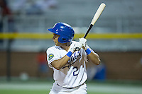 Jose Sanchez (2) of the Burlington Royals at bat against the Kingsport Mets at Burlington Athletic Stadium on July 18, 2016 in Burlington, North Carolina.  The Royals defeated the Mets 8-2.  (Brian Westerholt/Four Seam Images)