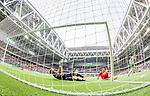 Stockholm 2015-04-25 Fotboll Allsvenskan Hammarby IF - &Aring;tvidabergs FF :  <br /> Hammarbys Linus Hallenius g&ouml;r 1-0 bakom &Aring;tvidabergs m&aring;lvakt Henrik Gustavsson under matchen mellan Hammarby IF och &Aring;tvidabergs FF <br /> (Foto: Kenta J&ouml;nsson) Nyckelord:  Fotboll Allsvenskan Tele2 Arena Hammarby HIF Bajen &Aring;tvidaberg &Aring;FF jubel gl&auml;dje lycka glad happy remote remotekamera