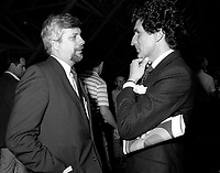 Montreal (Qc) CANADA - June 8 1984- Pierre-Marc Johnson (L), Guy Bertrand (R) at Parti Quebecois 9th convention
