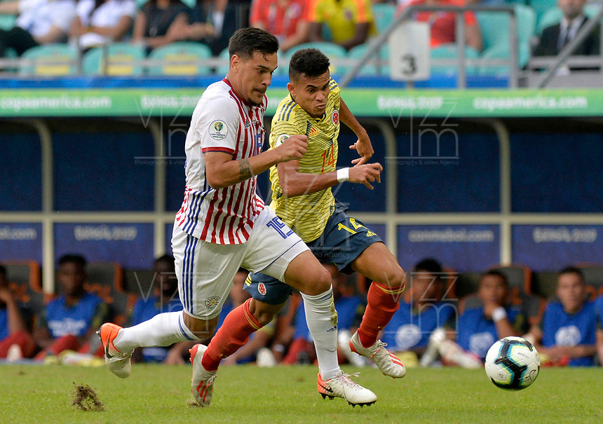 SALVADOR – BRASIL, 23-06-2019:Luis Diaz de Colombia disputa el balón con Gustavo Gomez de Paraguay durante partido de la Copa América Brasil 2019, grupo B, entre Colombia y Paraguay jugado en el Arena Fonte Nova de Salvador, Brasil. /Luis Diaz of Colombia vies for the ball with Gustavo Gomez of Paraguay during the Copa America Brazil 2019 group B match between Colombia and Paraguay played at Fonte Nova Arena in Salvador, Brazil. Photos: VizzorImage / Julian Medina / Cont /