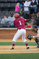 Ben Skinner (1) of the Harvard Crimson at bat against the Wake Forest Demon Deacons at David F. Couch Ballpark on March 5, 2016 in Winston-Salem, North Carolina.  The Crimson defeated the Demon Deacons 6-3.  (Brian Westerholt/Four Seam Images)