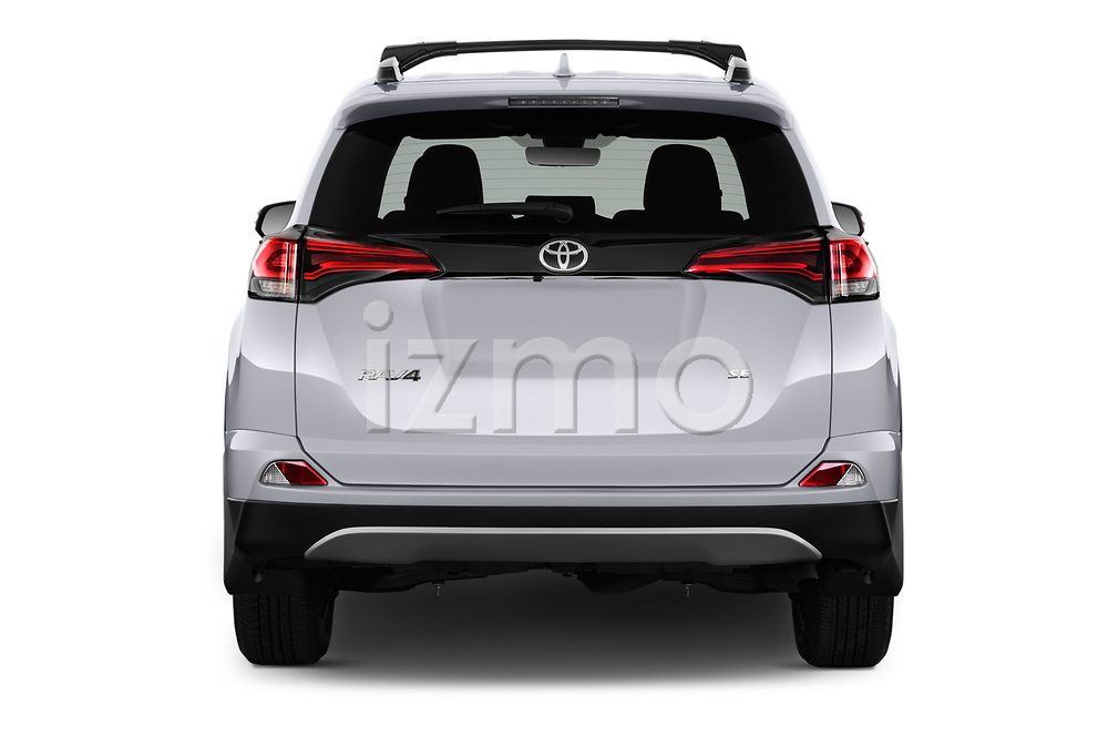 Straight rear view of 2016 Toyota RAV4 SE 5 Door SUV Rear View  stock images