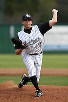 February 21, 2010:  Pitcher David Burns (47) of the Stetson Hatters during the teams opening series at Melching Field at Conrad Park in DeLand, FL.  Photo By Mike Janes/Four Seam Images