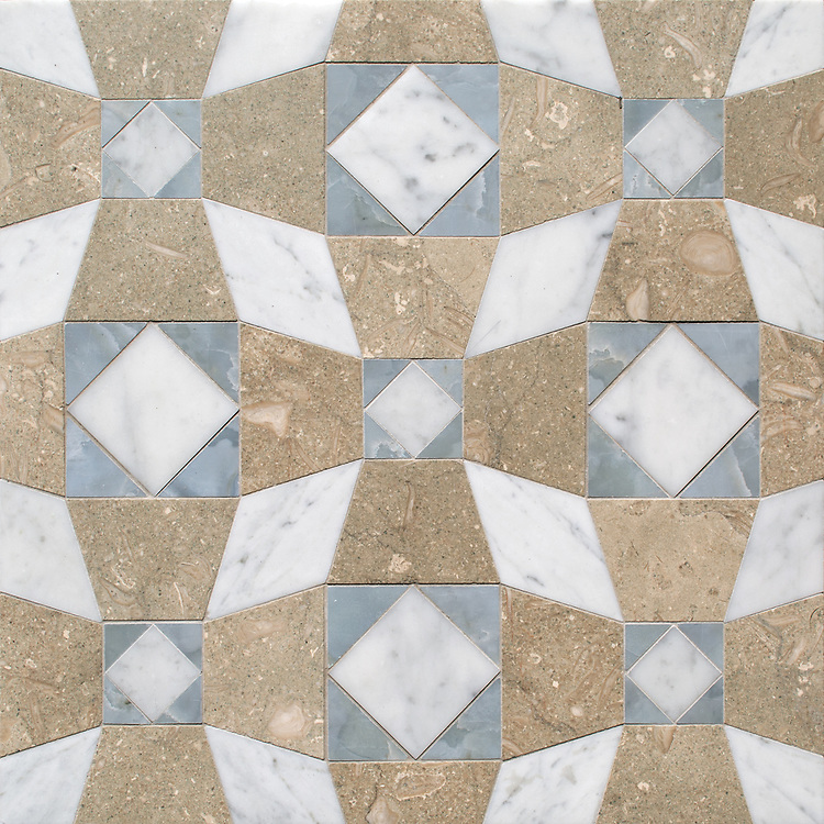 Estrella, a hand-cut mosaic, shown in honed Seagrass, polished Pacifica, and honed Carrara, is part of the Miraflores collection by Paul Schatz for New Ravenna.