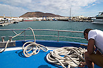 Approaching harbour at Caleta de Sebo, La Isla Graciosa, Lanzarote, Canary Islands, Spain