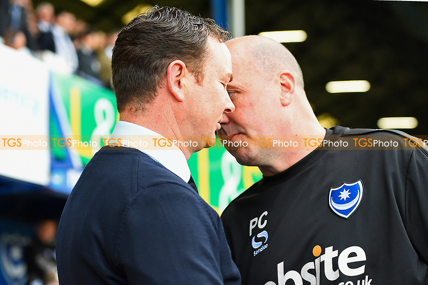 Portsmouth Manager Paul Cook right has words with Plymouth Argyle Manager Derek Adams prior to kick off during Portsmouth vs Plymouth Argyle, Sky Bet EFL League 2 Football at Fratton Park on 14th April 2017
