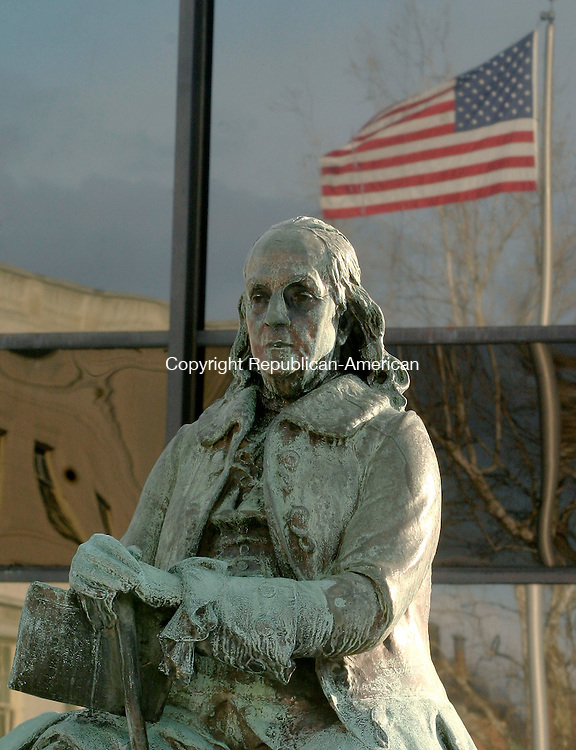 WATERBURY, CT - 25 FEBRUARY 2004 - 022505JS03-- The Friends of the Silas Bronson Library in Waterbury has received a grant to repair and clean the statue of Ben Franklin out in front of the library.   --Jim Shannon Photo --Friends of the Silas Bronson Library; Waterbury, Ben Franklin are CQ