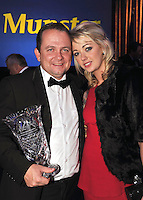 Davy Fitzgerald, Clare, Munster GAA Manager of the Year pictured with his partner Sharon O'Loughlin at the Bord G&aacute;is Energy Munster GAA Sports Star of the Year Awards in The Malton Hotel, Killarney at the weekend.<br />