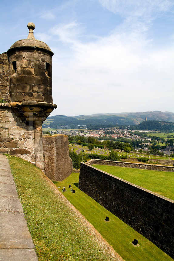 Edge of castle and walls of the world famous Stirling Castle in Stirling Scotland