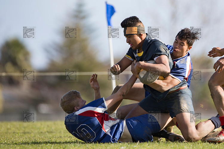 Counties Manukau First XV rugby game between James Cook High School and Rosehill College, played at James Cook Hogh School on Saturday June 10th 2017.<br /> James Cook won the game 60 - 5.<br /> Photo by Richard Spranger.