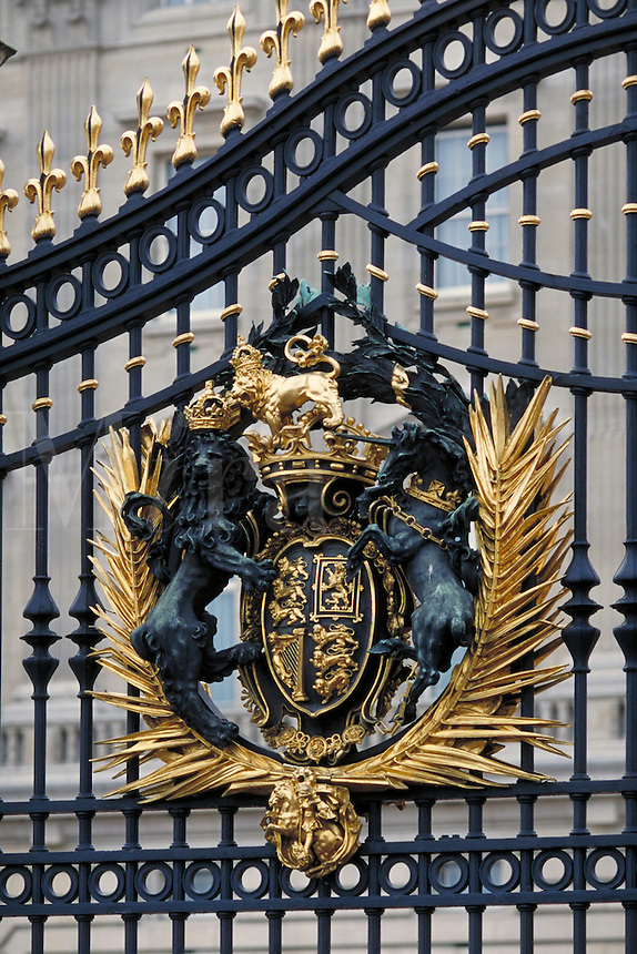 Gate with crest at Buckingham Palace. London, England. London, England Buckingham Palace.