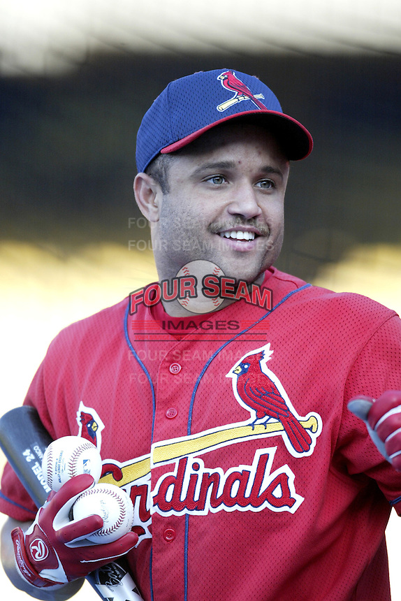 Placido Polanco of the St. Louis Cardinals before a 2002 MLB season game against the Los Angeles Dodgers at Dodger Stadium, in Los Angeles, California. (Larry Goren/Four Seam Images)