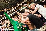 Solna 2015-08-10 Fotboll Allsvenskan AIK - Djurg&aring;rdens IF :  <br /> AIK:s m&aring;lvakt Patrik Carlgren tar en selfie med glada AIK:s supportrar efter matchen mellan AIK och Djurg&aring;rdens IF <br /> (Foto: Kenta J&ouml;nsson) Nyckelord:  AIK Gnaget Friends Arena Allsvenskan Djurg&aring;rden DIF jubel gl&auml;dje lycka glad happy glad gl&auml;dje lycka leende ler le