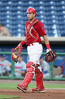 Clearwater Threshers catcher Sebastian Valle #9 during a game against the Daytona Cubs at Brighthouse Stadium on June 23, 2011 in Clearwater, Florida.  Clearwater defeated Daytona 6-5.  (Mike Janes/Four Seam Images)