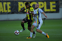Roy Krishna is fouled during the A-League football match between Wellington Phoenix and Central Coast Mariners at Westpac Stadium in Wellington, New Zealand on Saturday, 12 January 2019. Photo: Dave Lintott / lintottphoto.co.nz
