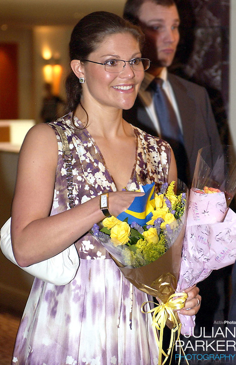 Crown Princess Victoria of Sweden meets children from the Swedish Saturday School as she arrives at the Sheraton On The Park for 'Swedish Smorgasbord', as part of the Sydney Gastronomic Festival - during her visit taking part in 'Swedish Style in Australia'..