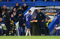 Chelsea Manager, Maurizio Sarri shakes hands with Jorginho after he was replaced by Ruben Loftus-Cheek in the second half during Chelsea vs Dynamo Kiev, UEFA Europa League Football at Stamford Bridge on 7th March 2019