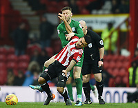 Preston's Paul Gallagher gets hit in the face by Brentford's Nico Yennaris<br /> <br /> Photographer Jonathan Hobley/CameraSport<br /> <br /> The EFL Sky Bet Championship - Brentford v Preston North End - Saturday 10th February 2018 - Griffin Park - Brentford<br /> <br /> World Copyright &copy; 2018 CameraSport. All rights reserved. 43 Linden Ave. Countesthorpe. Leicester. England. LE8 5PG - Tel: +44 (0) 116 277 4147 - admin@camerasport.com - www.camerasport.com