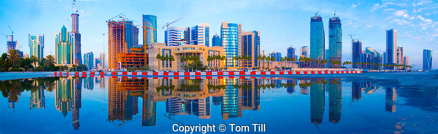 Downtown towers of Doha, Reflected in rare spring rain, Qatar, Arabian Pennisula, Persian Gulf